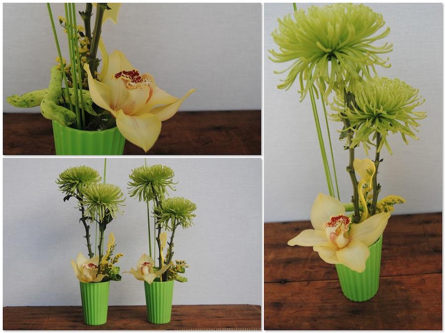 Jarrón plástico en tonos fluor con orquídea y anastasias