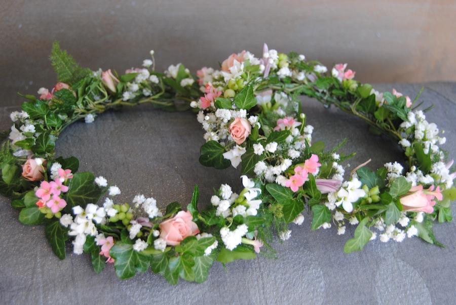 Coronas para niñas comunion flor natural rosa