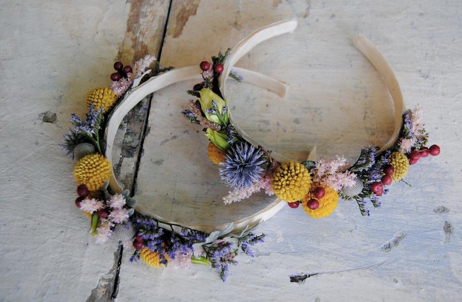 diademas damas con flor natural