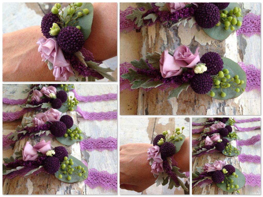 Pulseras o corsages de flores a juego con el ramo de novia