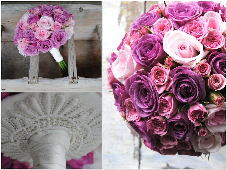 Ramo de novia compacto de rosas lilas y rosas en diferentes colores, con u remate de encaje