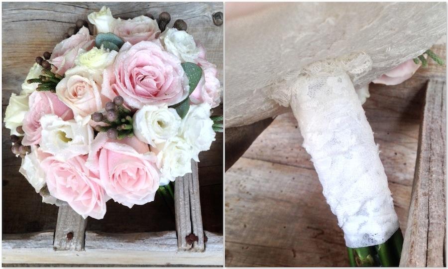 bouquet vintage en rosa empolvado, blanco y gris. Un clásico atemporal