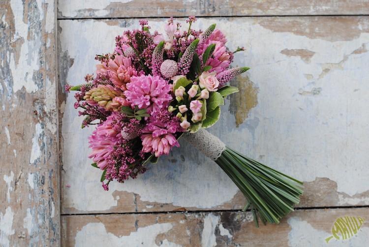 jacintos en ramo de novia